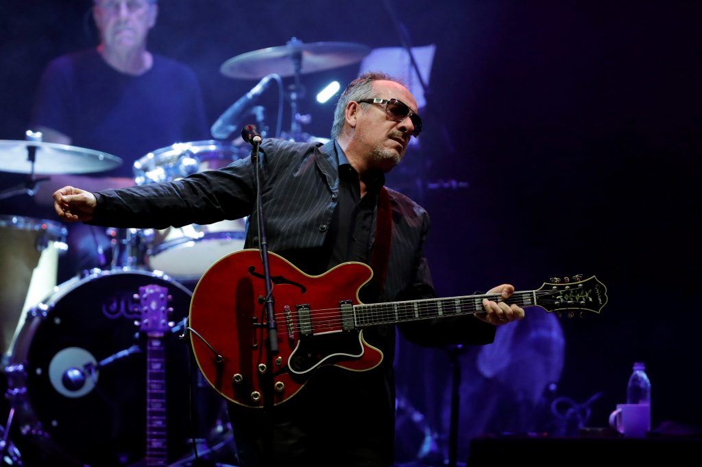 NO COMMERCIAL SALES EDITORIAL USE ONLY Mandatory Credit: Photo by JuanJo Martin/EPA-EFE/REX/Shutterstock (9724371b) Elvis Costelo English musician Elvis Costello in concert in Madrid, Spain - 22 Jun 2018 English musician Elvis Costelo (C) and The Imposters band perform on stage during a concert held as part of Noches del Botanico (Nights of botanical Garden) festival in Madrid, Spain, late 21 June 2018, (issued 22 June 2018).