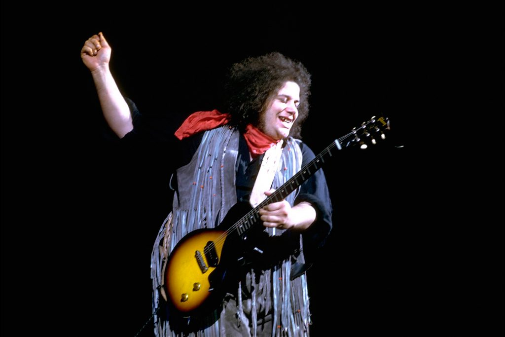 "Bethel, New York: August 1969. Woodstock Music Festival. Leslie West and Mountain performing. ©Tom Miner / The Image Works NOTE: The copyright notice must include ""The Image Works"" DO NOT SHORTEN THE NAME OF THE COMPANY"