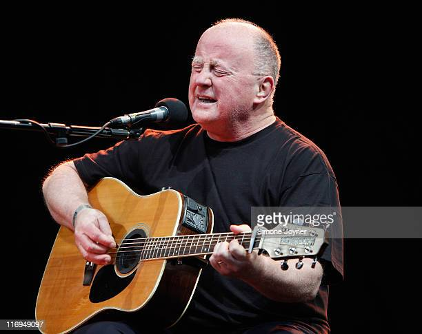 LONDON, ENGLAND - JUNE 18: Irish folk singer Christy Moore performs on stage during day one of Feis Festival 2011 at Finsbury Park on June 18, 2011 in London, United Kingdom. (Photo by Simone Joyner/Redferns)