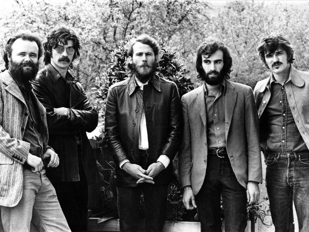 Garth Hudson (left), Robbie Robertson, Levon Helm, Richard Manuel and Rick Danko of The Band pose for a group portrait in London in June 1971.